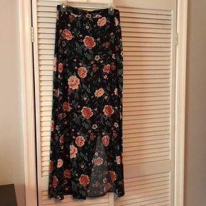 Forever21 Floral Long slit Maxi Skirt